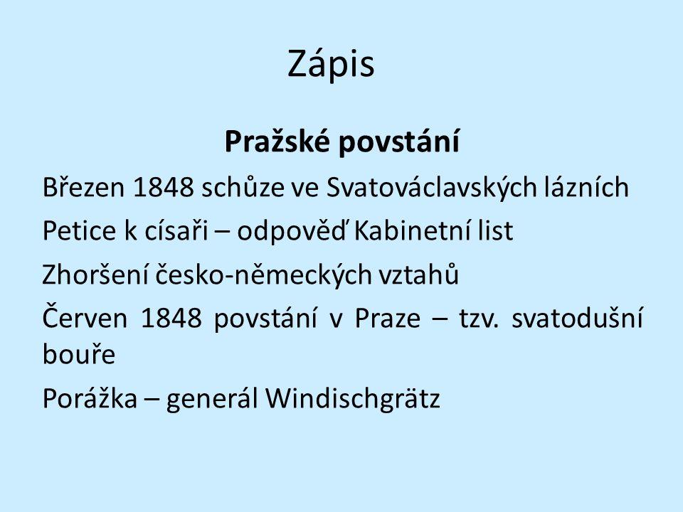 Zápis Pražské povstání Březen 1848 schůze ve Svatováclavských lázních