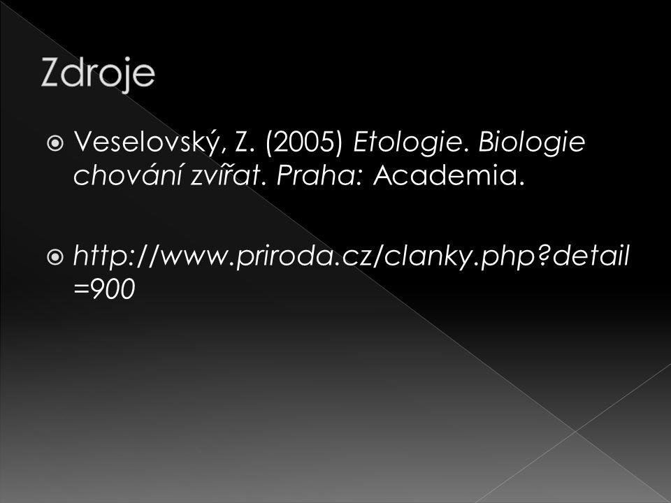 Zdroje Veselovský, Z. (2005) Etologie. Biologie chování zvířat.