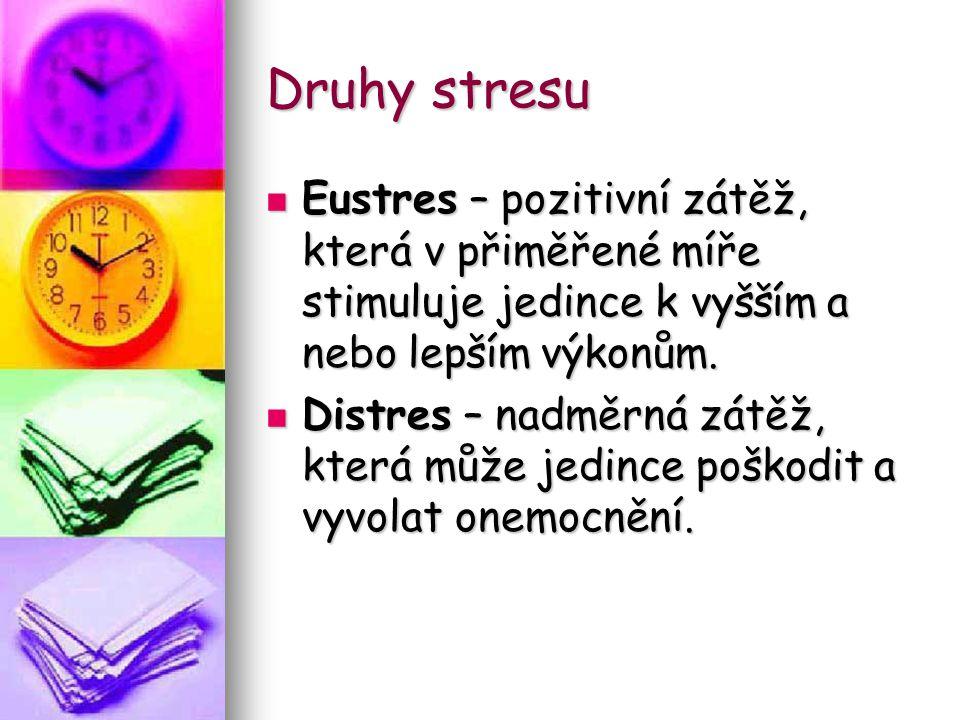 Druhy stresu Eustres – pozitivní zátěž, která v přiměřené míře stimuluje jedince k vyšším a nebo lepším výkonům.