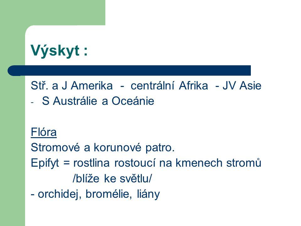 Výskyt : Stř. a J Amerika - centrální Afrika - JV Asie