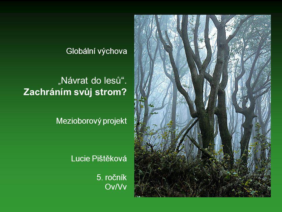 """Globální výchova """"Návrat do lesů . Zachráním svůj strom"""