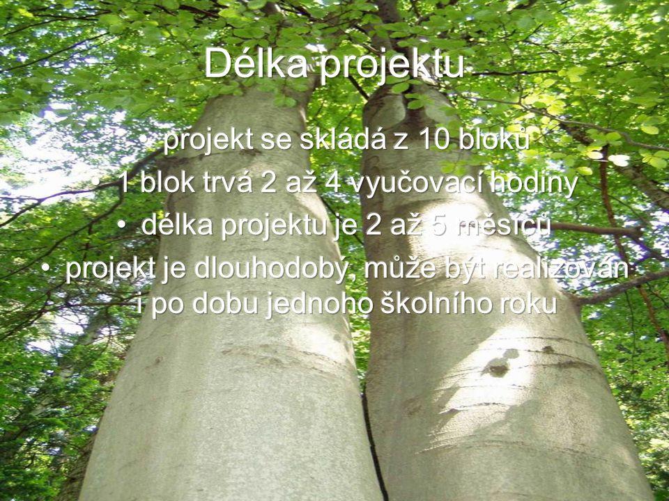 Délka projektu projekt se skládá z 10 bloků