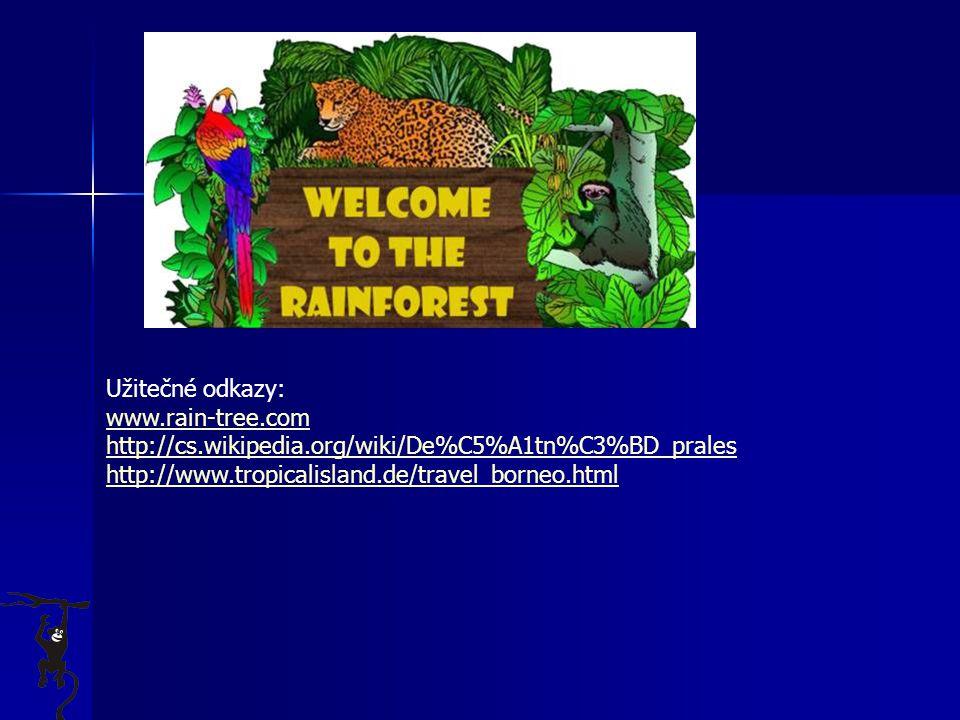 Užitečné odkazy: www.rain-tree.com. http://cs.wikipedia.org/wiki/De%C5%A1tn%C3%BD_prales.
