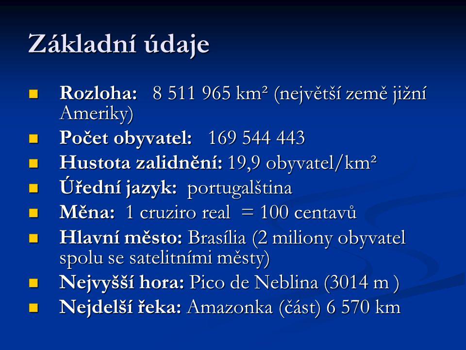 Základní údaje Rozloha: 8 511 965 km² (největší země jižní Ameriky)
