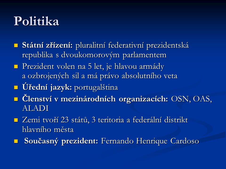 Politika Státní zřízení: pluralitní federativní prezidentská republika s dvoukomorovým parlamentem.