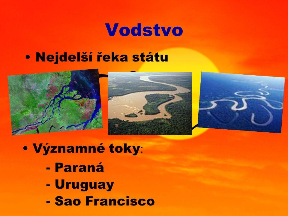 Vodstvo Nejdelší řeka státu Významné toky: - Paraná - Uruguay