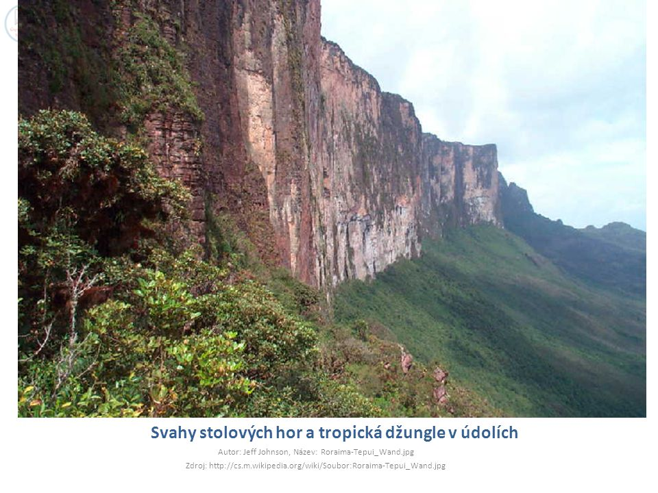 Svahy stolových hor a tropická džungle v údolích