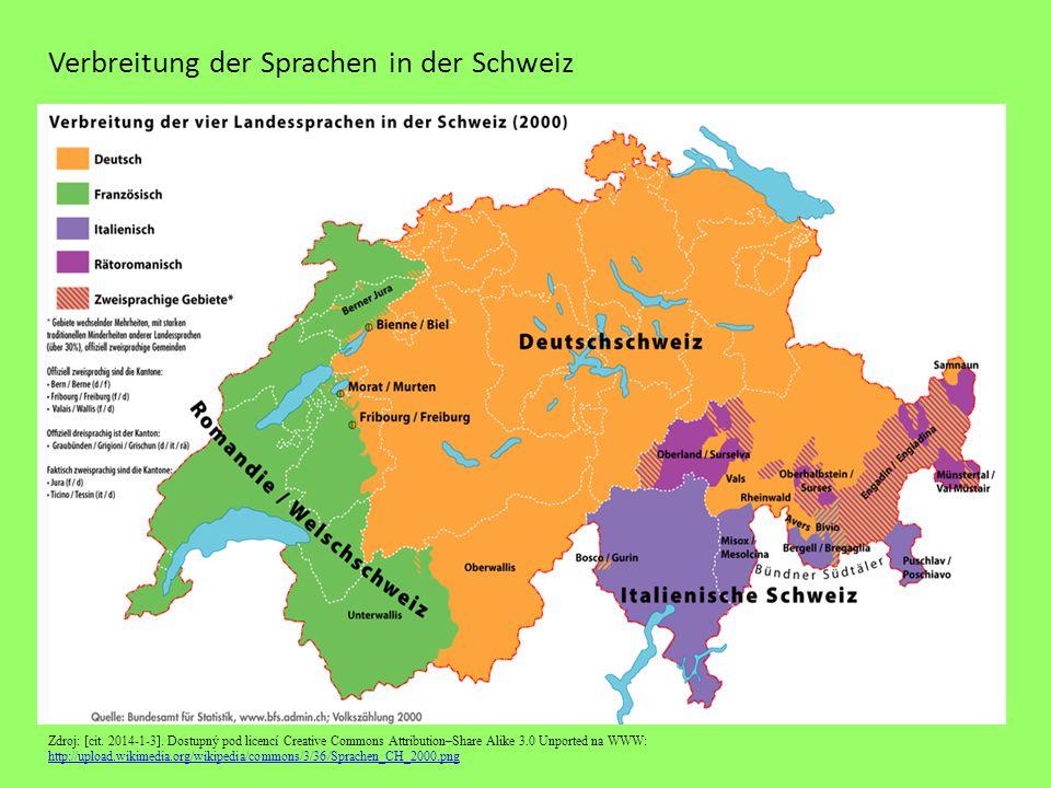 Verbreitung der Sprachen in der Schweiz