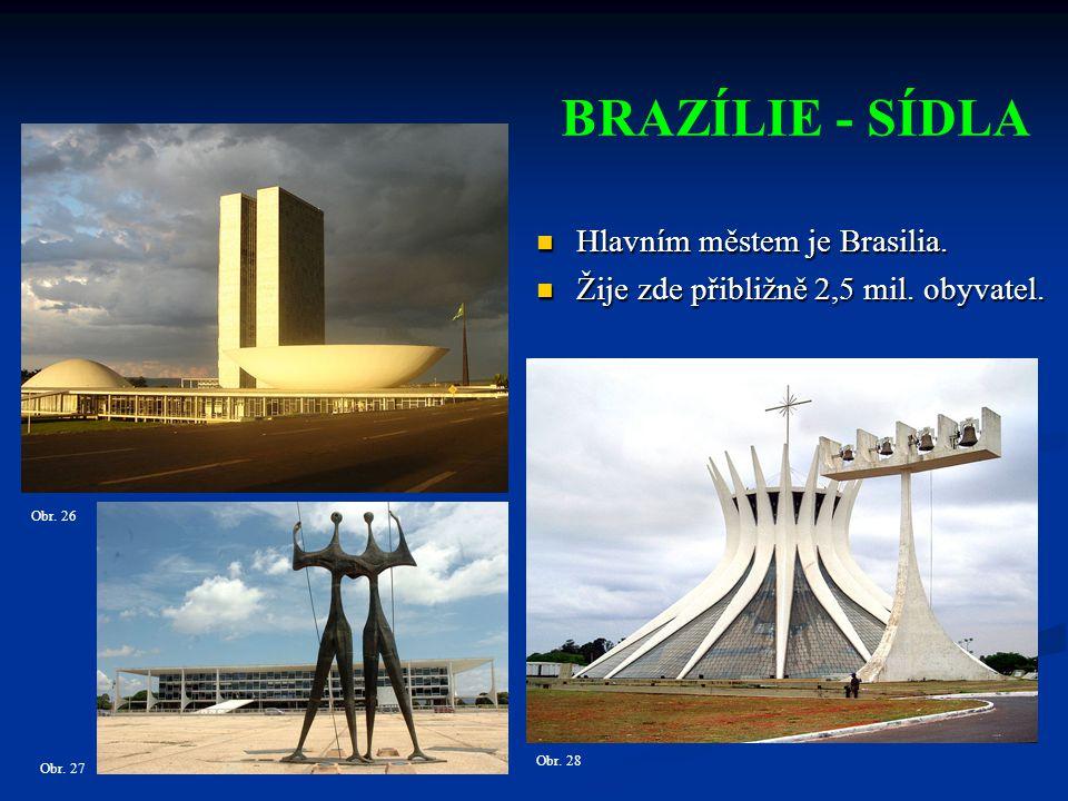 BRAZÍLIE - SÍDLA Hlavním městem je Brasilia.