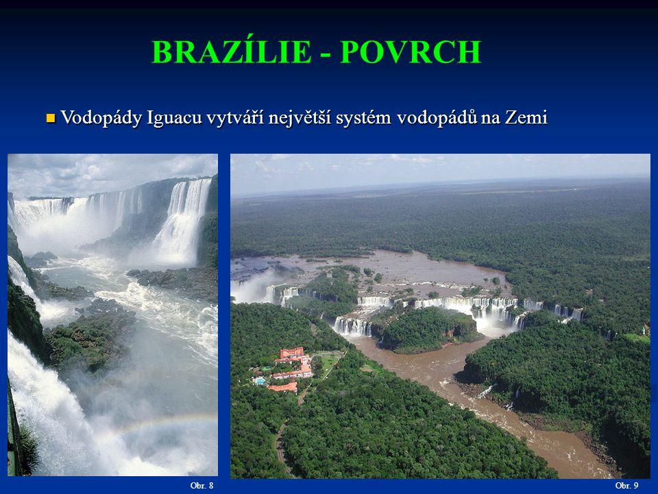 BRAZÍLIE - POVRCH Vodopády Iguacu vytváří největší systém vodopádů na Zemi Obr. 8 Obr. 9