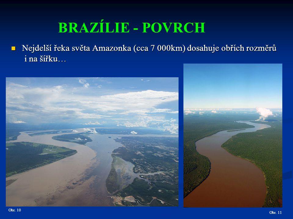 BRAZÍLIE - POVRCH Nejdelší řeka světa Amazonka (cca 7 000km) dosahuje obřích rozměrů. i na šířku… Obr. 10.
