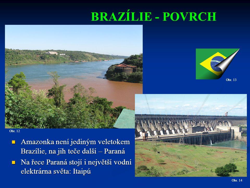 BRAZÍLIE - POVRCH Obr. 13. Obr. 12. Amazonka není jediným veletokem Brazílie, na jih teče další – Paraná.