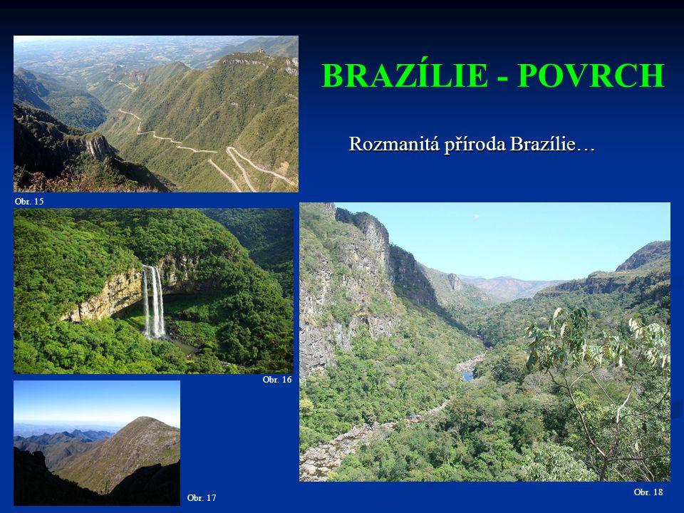 BRAZÍLIE - POVRCH Rozmanitá příroda Brazílie… Obr. 15 Obr. 16 Obr. 18