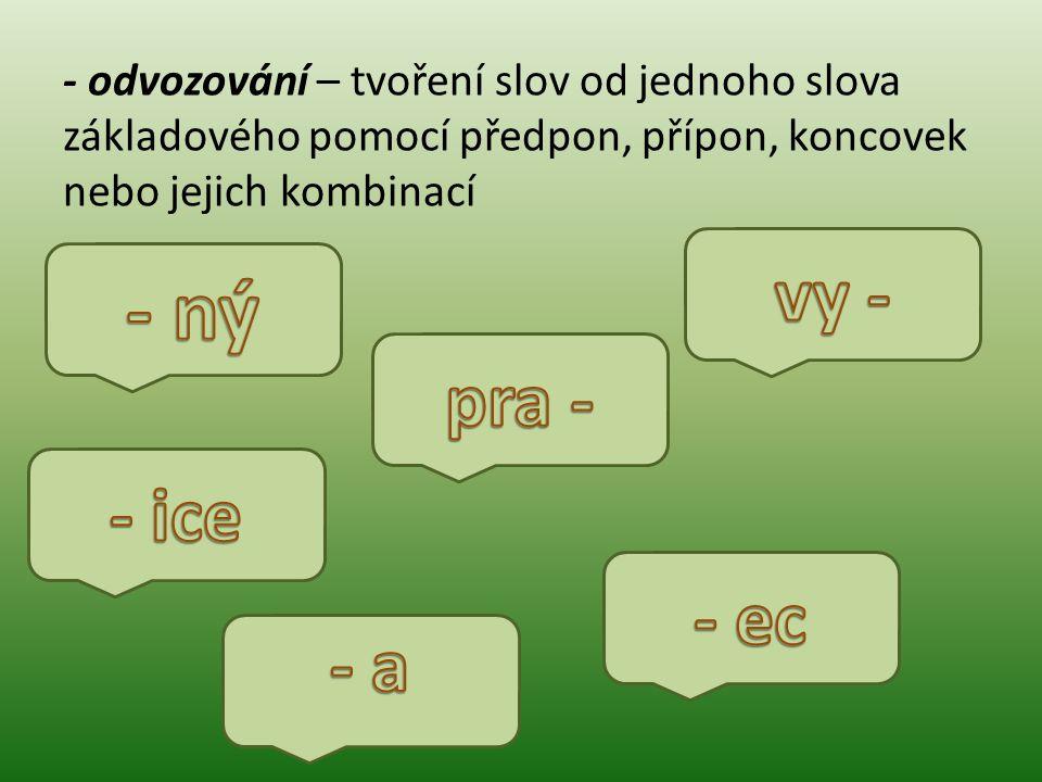 - odvozování – tvoření slov od jednoho slova základového pomocí předpon, přípon, koncovek nebo jejich kombinací