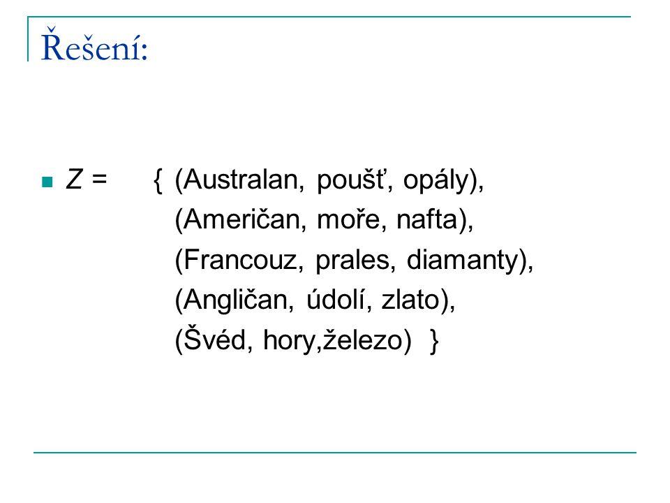 Řešení: Z = { (Australan, poušť, opály), (Američan, moře, nafta),