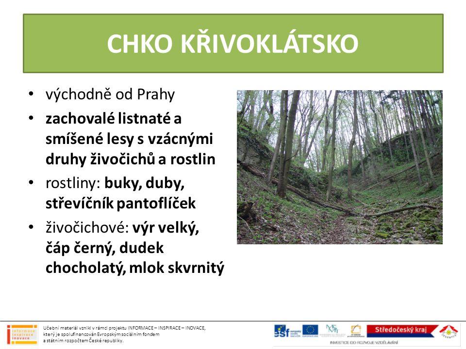CHKO KŘIVOKLÁTSKO východně od Prahy