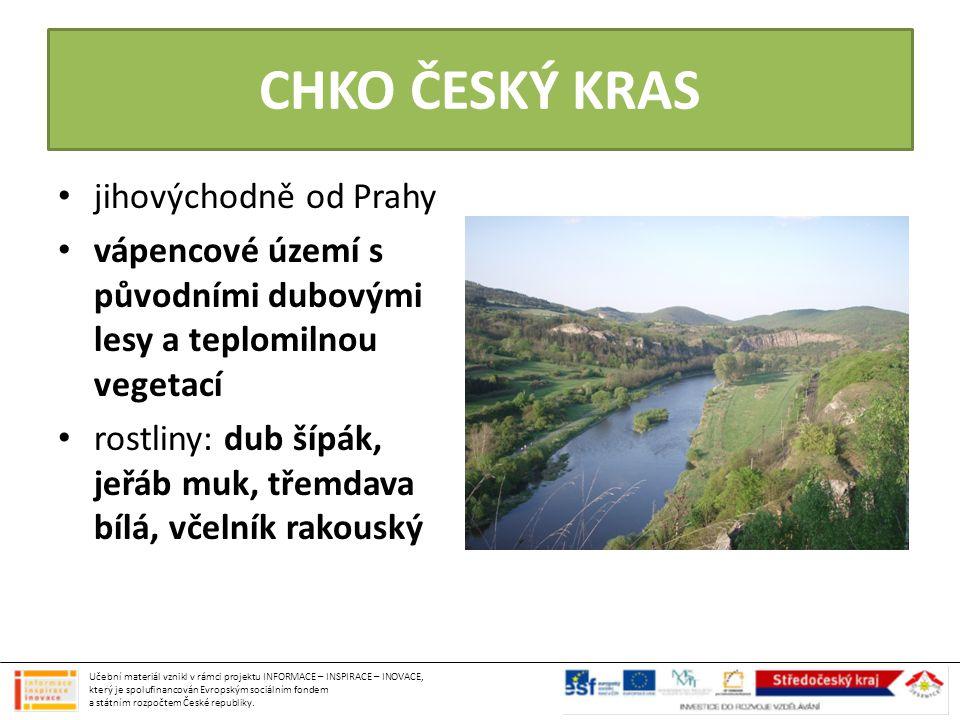 CHKO ČESKÝ KRAS jihovýchodně od Prahy