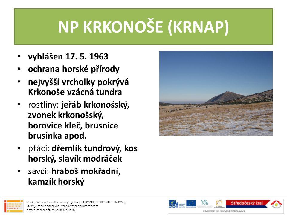 NP KRKONOŠE (KRNAP) vyhlášen 17. 5. 1963 ochrana horské přírody