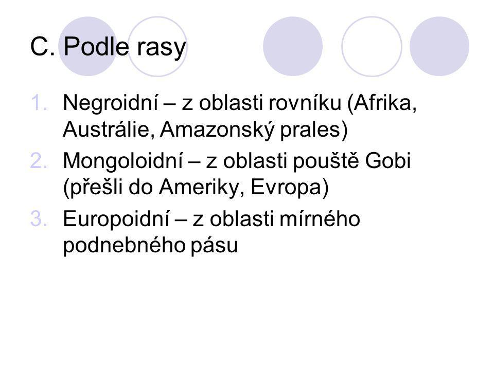 C. Podle rasy Negroidní – z oblasti rovníku (Afrika, Austrálie, Amazonský prales) Mongoloidní – z oblasti pouště Gobi (přešli do Ameriky, Evropa)