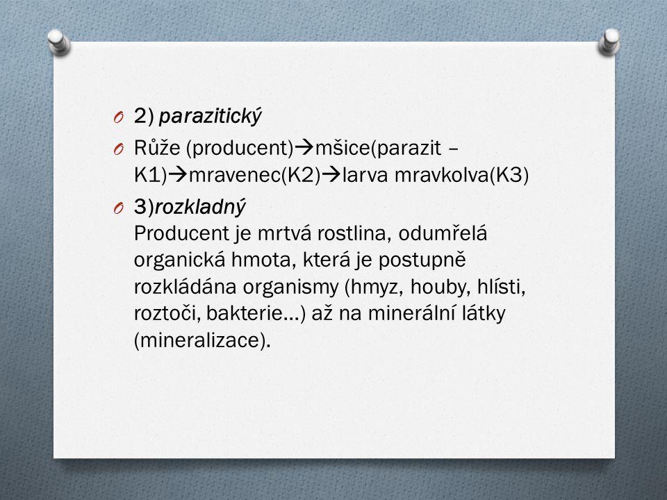2) parazitický Růže (producent)mšice(parazit – K1)mravenec(K2)larva mravkolva(K3)