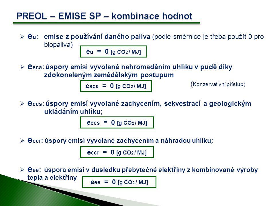 PREOL – EMISE SP – kombinace hodnot