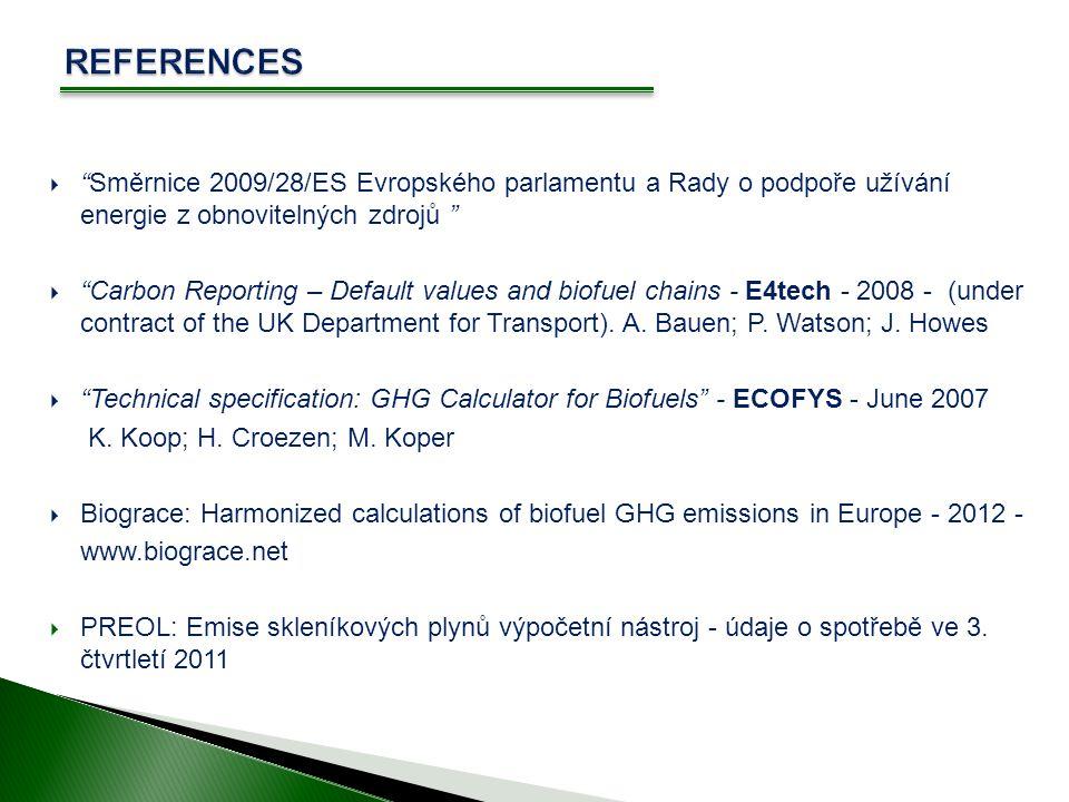 REFERENCES Směrnice 2009/28/ES Evropského parlamentu a Rady o podpoře užívání energie z obnovitelných zdrojů