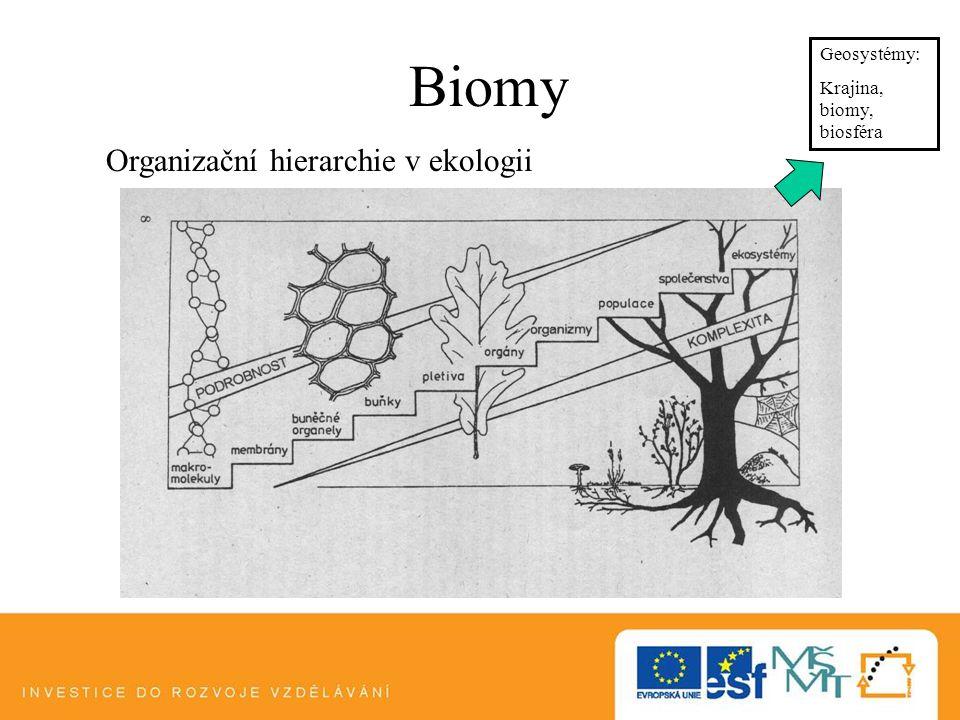 Biomy Organizační hierarchie v ekologii Geosystémy: