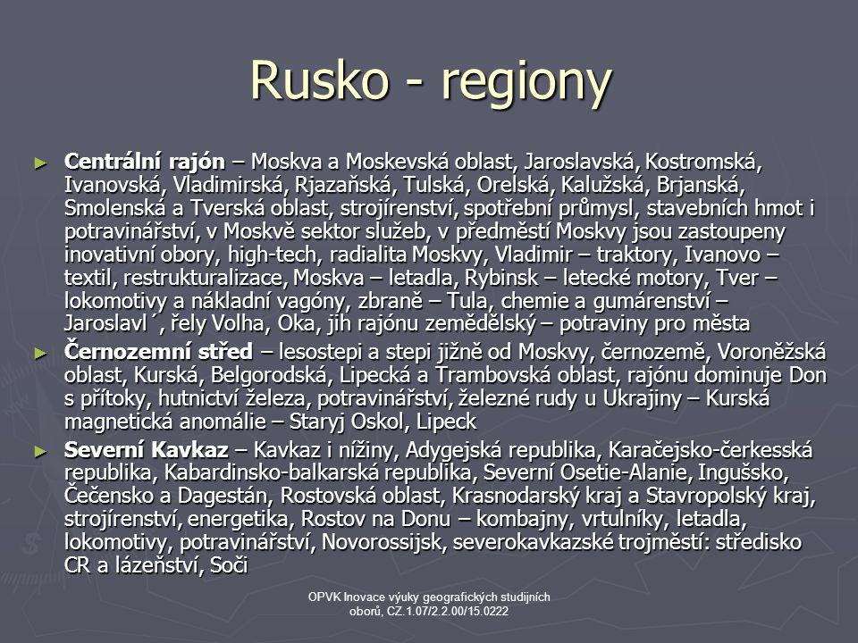Rusko - regiony