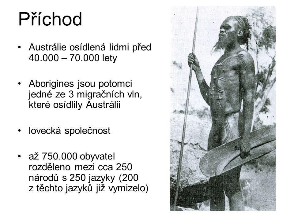 Příchod Austrálie osídlená lidmi před 40.000 – 70.000 lety
