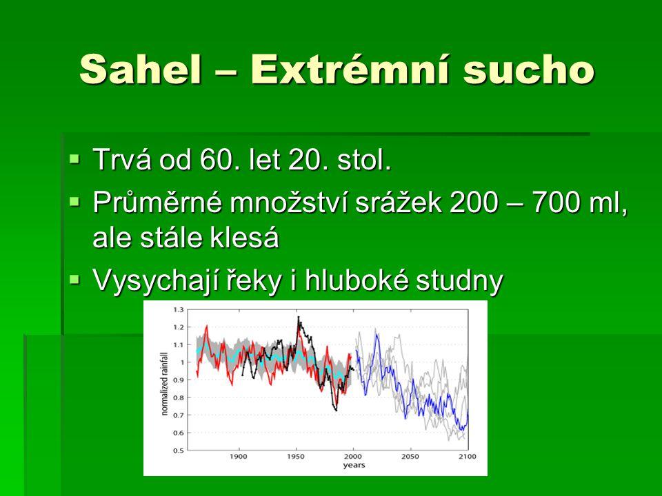 Sahel – Extrémní sucho Trvá od 60. let 20. stol.
