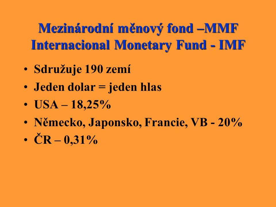 Mezinárodní měnový fond –MMF Internacional Monetary Fund - IMF