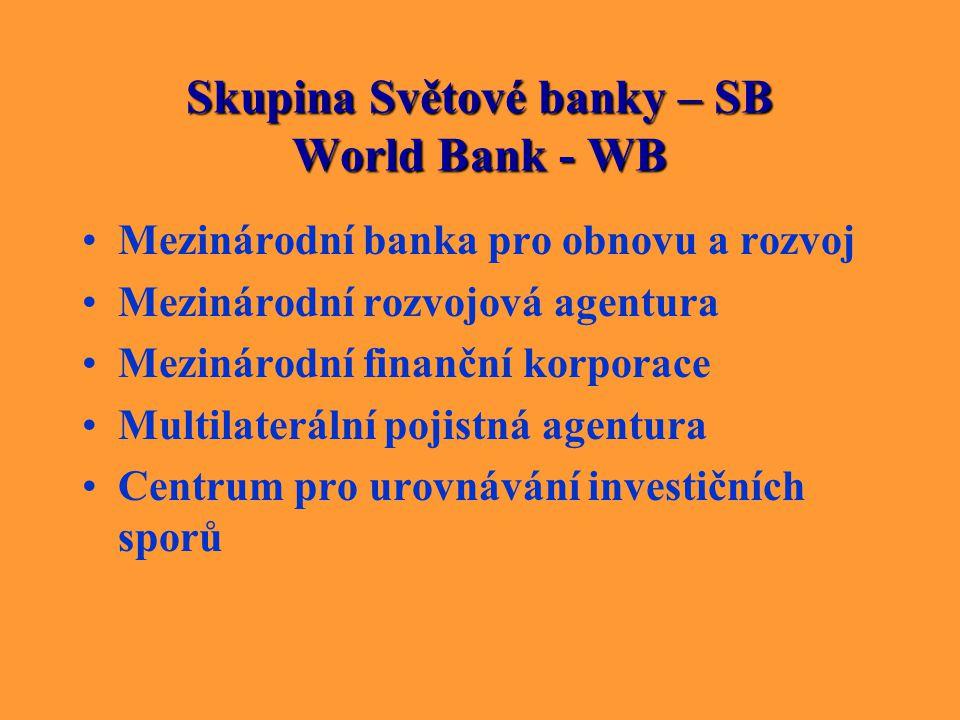 Skupina Světové banky – SB World Bank - WB