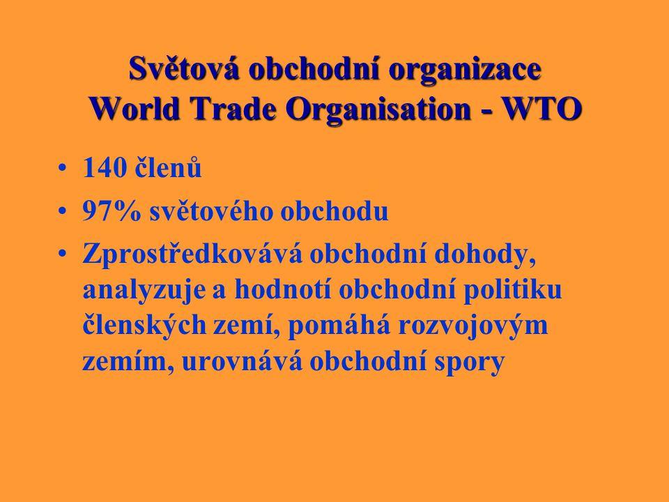 Světová obchodní organizace World Trade Organisation - WTO