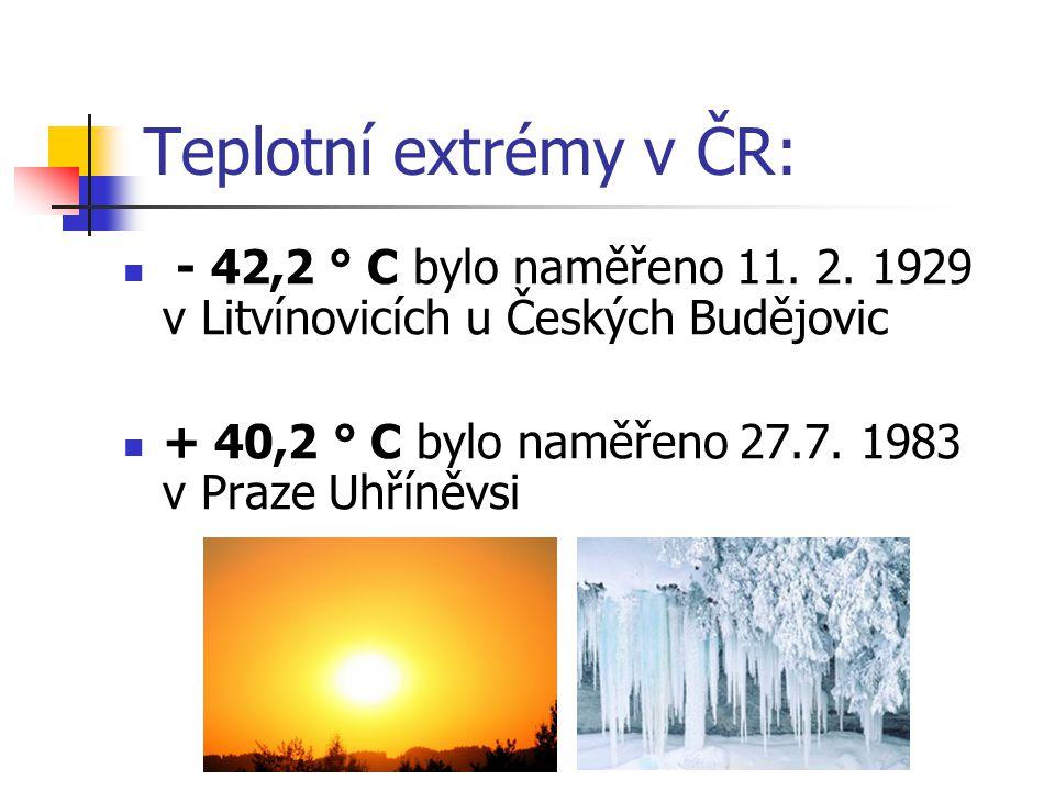 Teplotní extrémy v ČR: - 42,2 ° C bylo naměřeno 11. 2. 1929 v Litvínovicích u Českých Budějovic