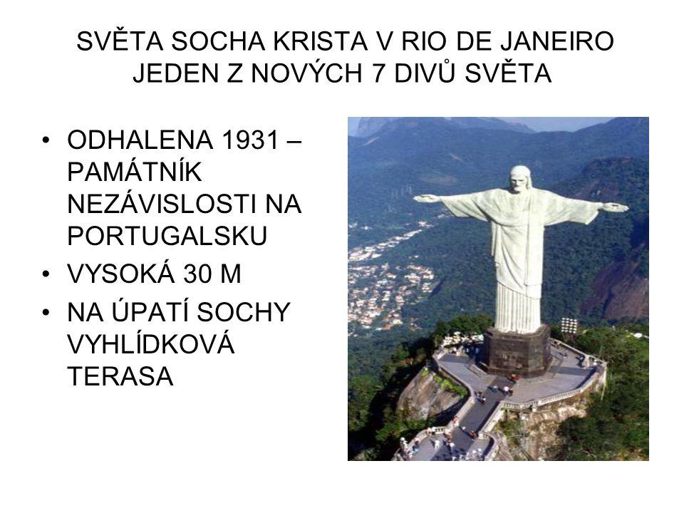SVĚTA SOCHA KRISTA V RIO DE JANEIRO JEDEN Z NOVÝCH 7 DIVŮ SVĚTA