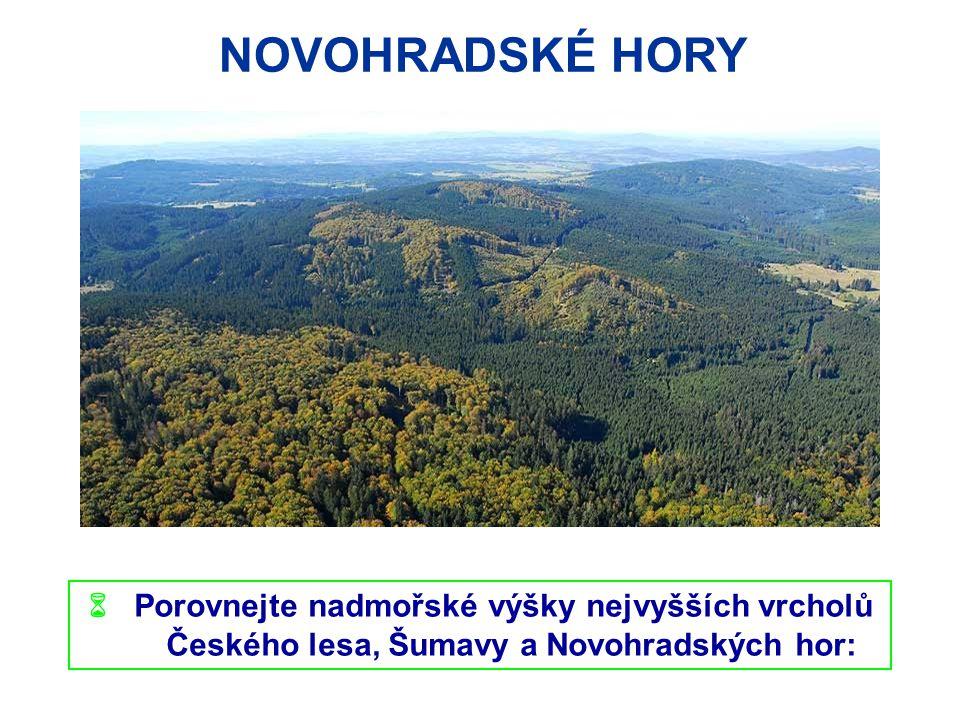NOVOHRADSKÉ HORY  Porovnejte nadmořské výšky nejvyšších vrcholů
