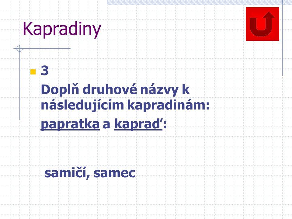 Kapradiny 3 Doplň druhové názvy k následujícím kapradinám: