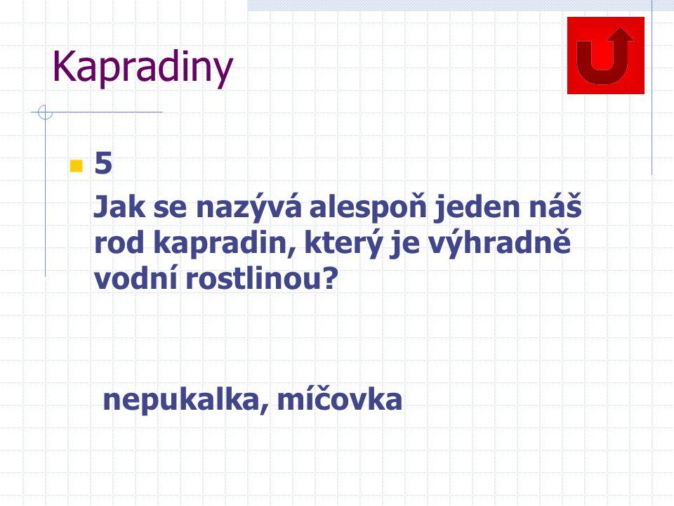 Kapradiny 5. Jak se nazývá alespoň jeden náš rod kapradin, který je výhradně vodní rostlinou.