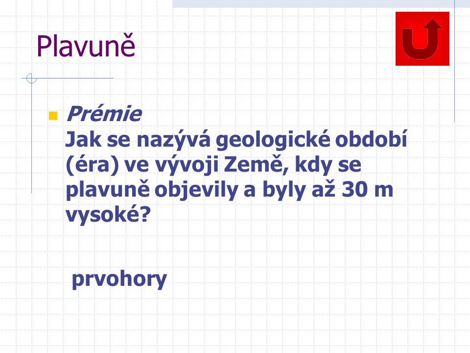 Plavuně Prémie Jak se nazývá geologické období (éra) ve vývoji Země, kdy se plavuně objevily a byly až 30 m vysoké