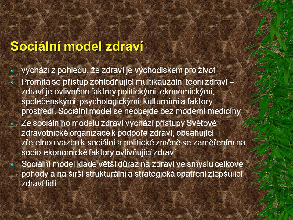 Sociální model zdraví vychází z pohledu, že zdraví je východiskem pro život.