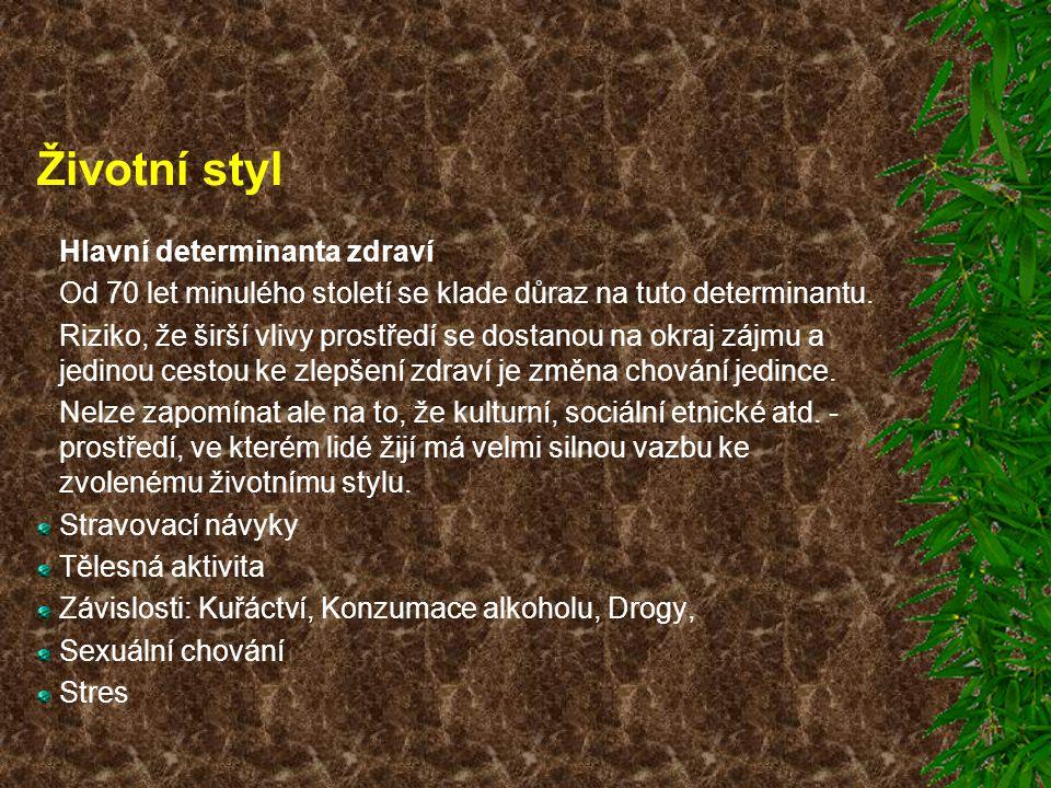 Životní styl Hlavní determinanta zdraví