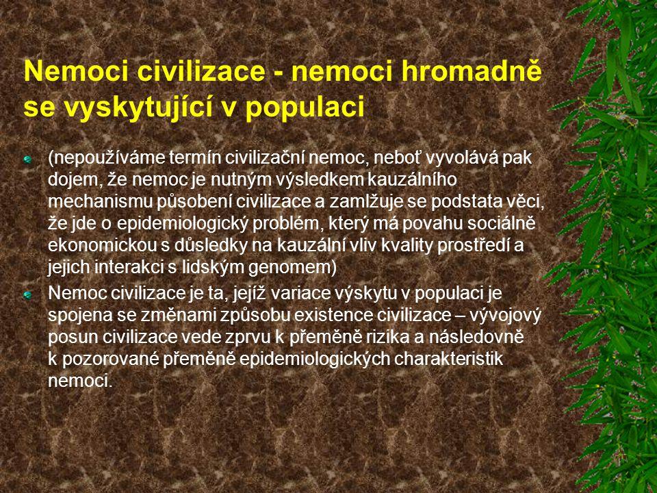 Nemoci civilizace - nemoci hromadně se vyskytující v populaci