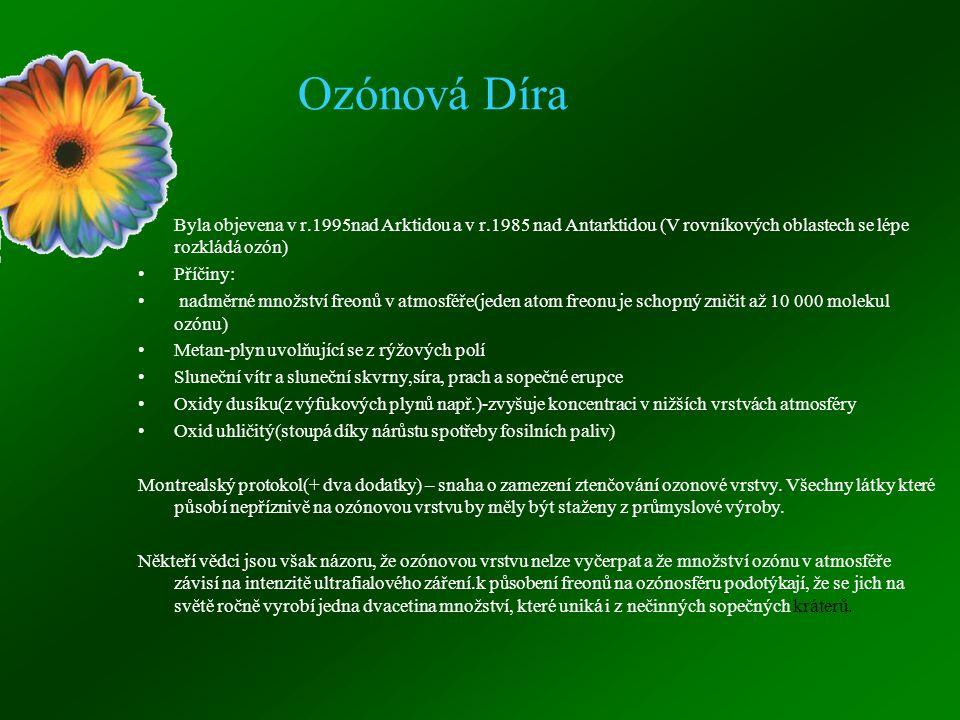 Ozónová Díra Byla objevena v r.1995nad Arktidou a v r.1985 nad Antarktidou (V rovníkových oblastech se lépe rozkládá ozón)