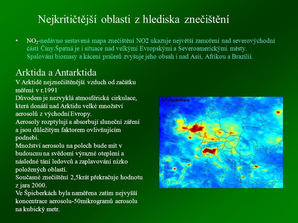 Nejkritičtější oblasti z hlediska znečištění