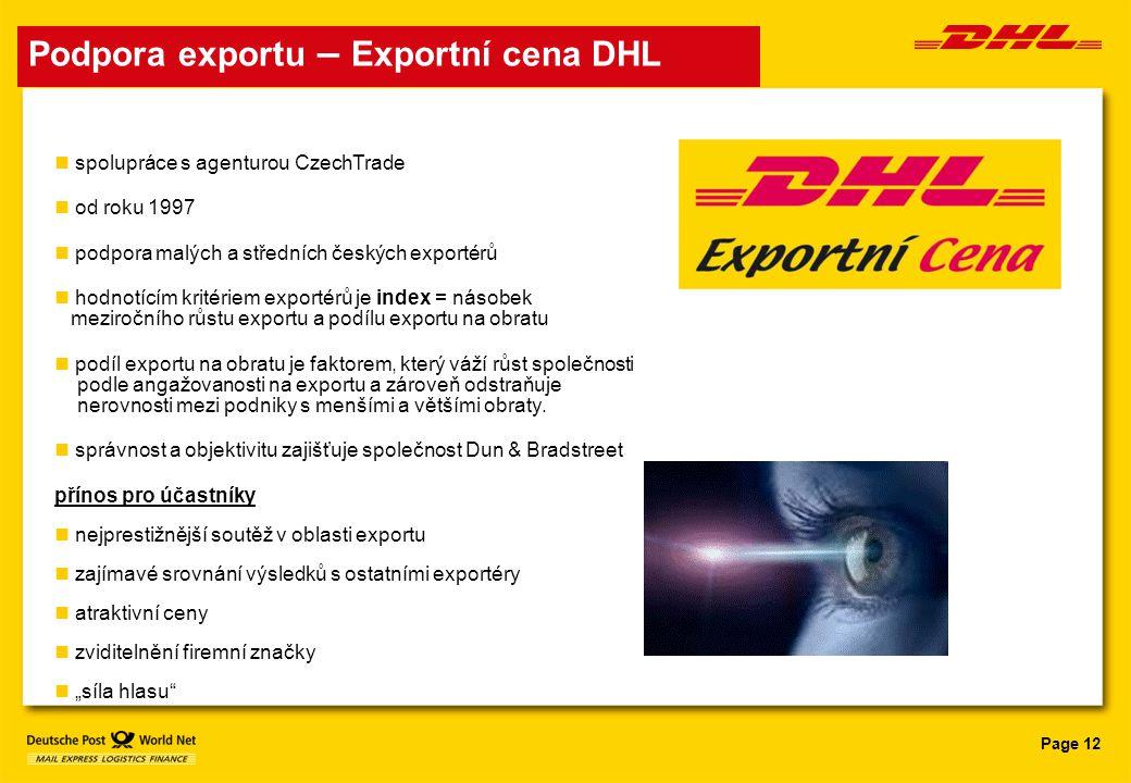 Podpora exportu – Exportní cena DHL