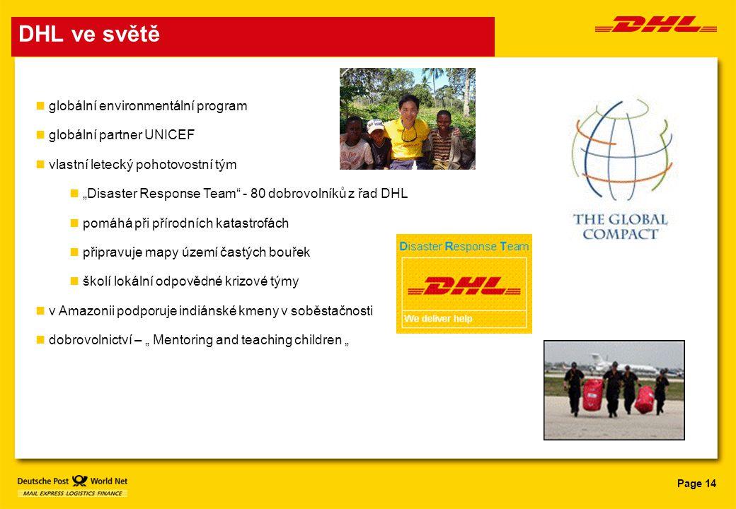 DHL ve světě globální environmentální program globální partner UNICEF