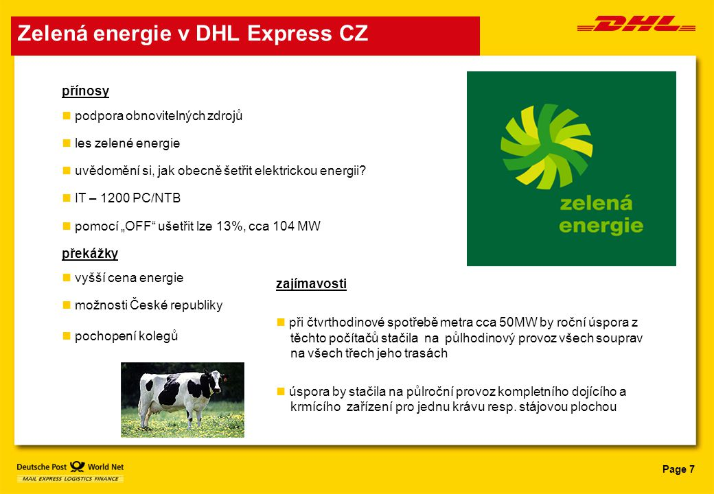 Zelená energie v DHL Express CZ