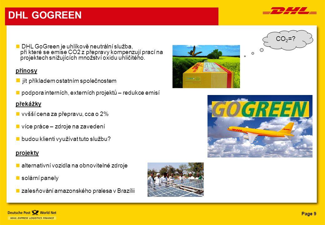 DHL GOGREEN CO2= jít příkladem ostatním společnostem