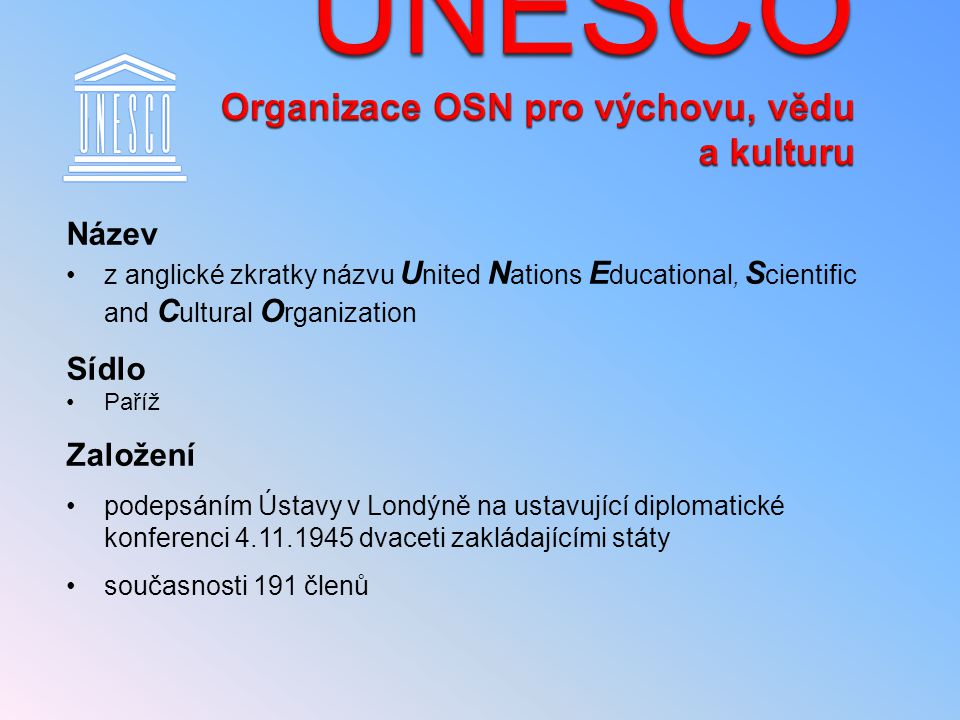 UNESCO Organizace OSN pro výchovu, vědu a kulturu