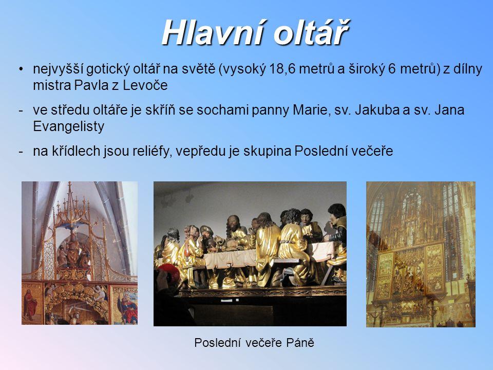 Hlavní oltář nejvyšší gotický oltář na světě (vysoký 18,6 metrů a široký 6 metrů) z dílny mistra Pavla z Levoče.